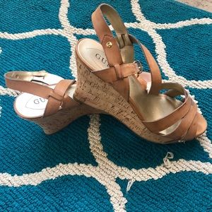 Guess Tan Leather Wedges